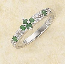 Sterling Silver & Emerald w/ Diamond Accent Ring